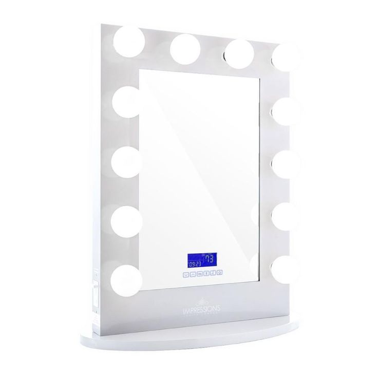Hollywood Iconic XL BT Vanity Mirror with Bluetooth Speakers in Glossy White