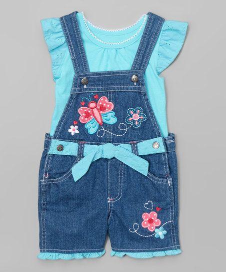 Nannette Girl Aqua Ruffle Tee & Denim Butterfly Shortalls - Toddler & Girls | zulily