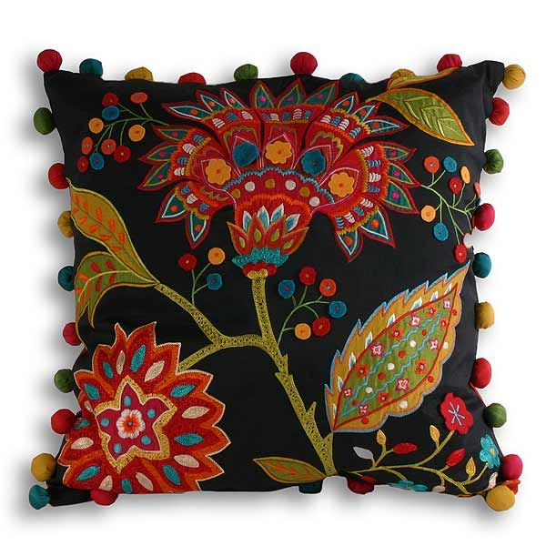 Paoletti Bengal Indian Floral Embroidered Cushion Cover, Multi, 43 x 43 Cm