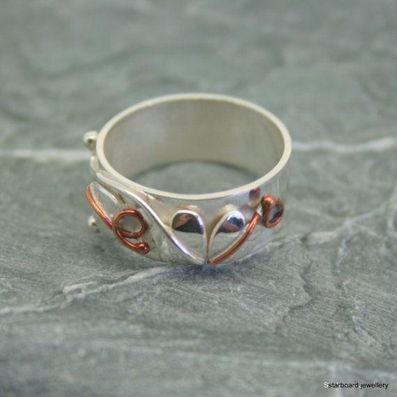 Handmade sterling silver heart and copper by starboardjewellery http://www.thesterlingsilver.com/product/womens-blue-sapphire-jewellery-set-necklace-chocker-stud-earrings-bracelet-rhinestone-silver-plated/