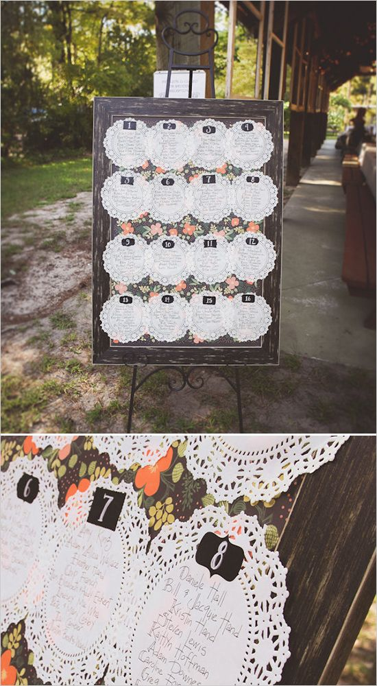 Doily and floral seating chart board for a shabby chic reception. Captured By: Sarah Murray Photography ---> http://www.weddingchicks.com/2014/05/13/quirky-budget-friendly-wedding/