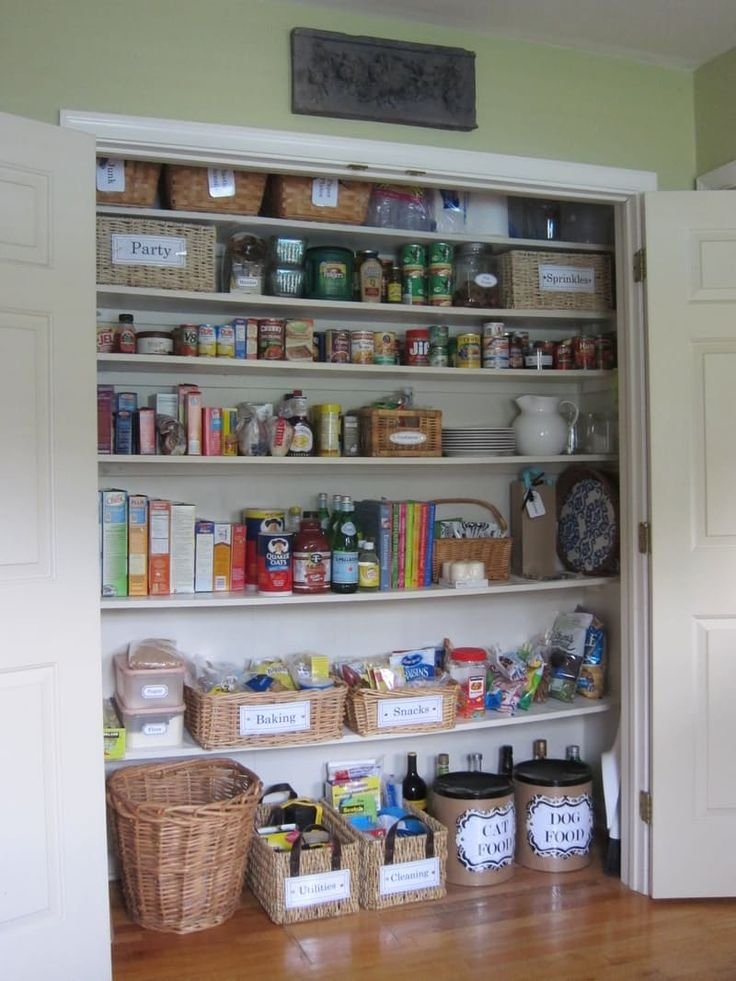 Looking for pantry organization ideas? Check out this coat closet turned pantry! Perfect DIY projects idea for small spaces.