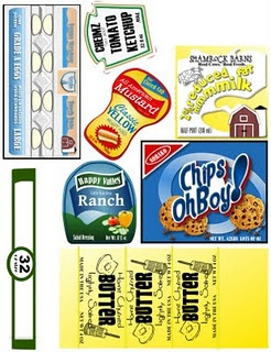 Play food labels - just modge podge onto wood blocks for pretend food.