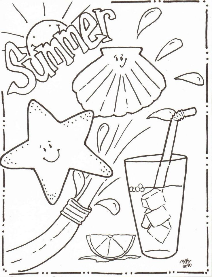 summertime coloring sheets michelle kemper brownlow summer coloring pages original mkb designs - Color Book Printable