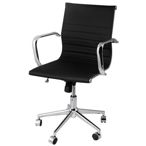 Black Eames Replica PU Leather Designer Office Chair
