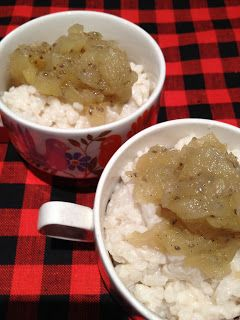 Rice pudding with stewed pears