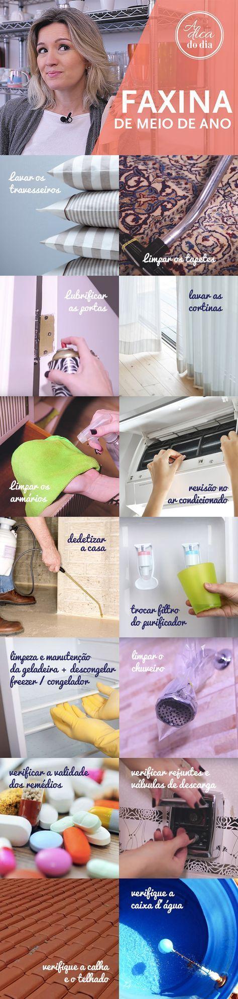 Calendário da limpeza doméstica: Faxina de meio de ano para sua casa! 15 tarefas que devem ser feitas no meio do ano para que sua casa fique sempre em ordem. Siga o passo a passo e faxine sua casa para receber o segundo semestre de forma fácil e prática. Confira #aDicadoDia