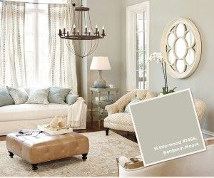 Benjamin Moore Winterwood #1486. A nice soft grey with bluish undertones.