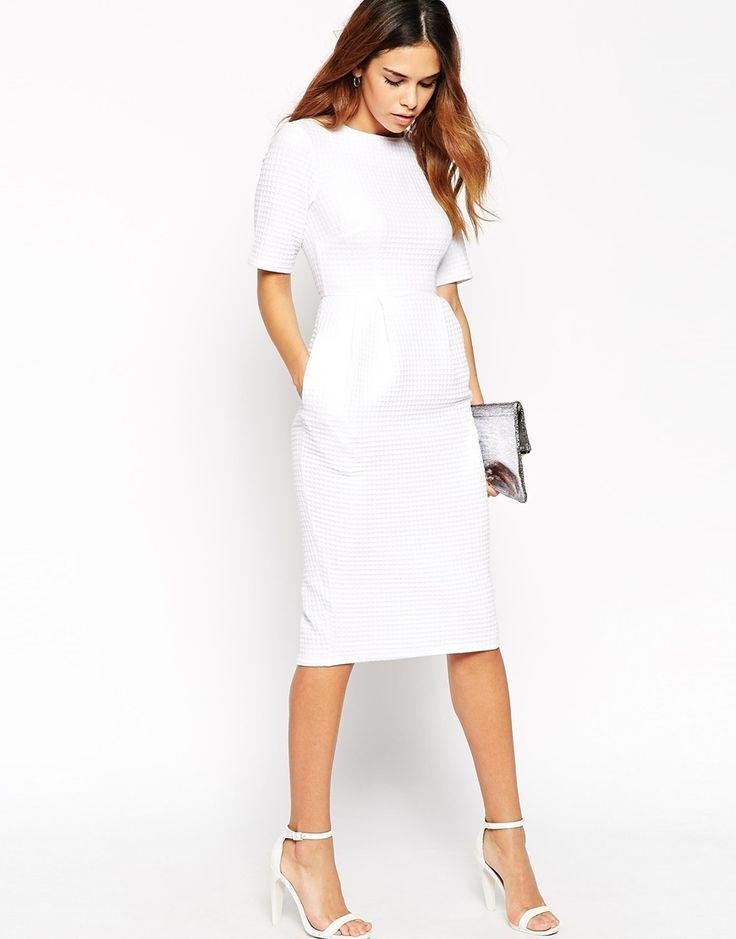 Image 4 of ASOS PETITE Textured Wiggle Dress