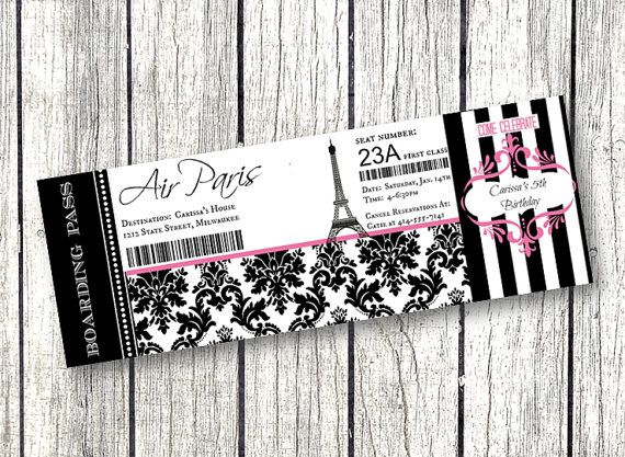 paris birthday party boarding pass ticket invitation pink and black