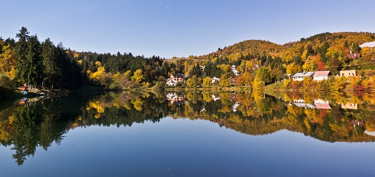 Unique fall pano-view on the Lake Windsachta near Banska Stiavnica/Slovakia