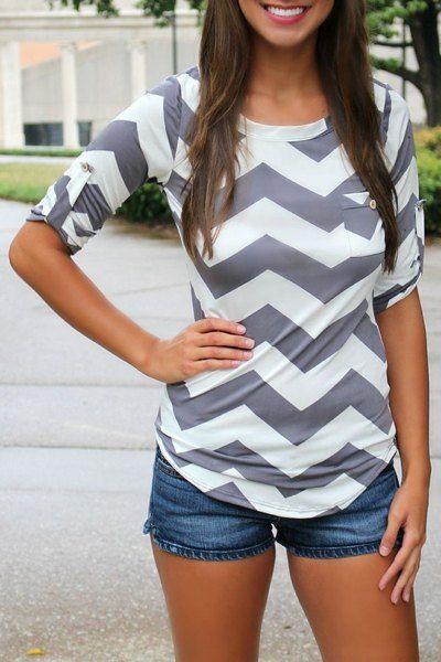 Stylish Scoop Neck Long Sleeve Chevron Stripe Slimming Women's T-Shirt