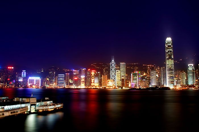Victoria Harbor, Hong Kong. The view from the Marco Polo hotel