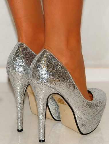 Was £29.99 - Buy Now £19.99 [UK & Ireland]: Shoes: Ladies Womens Silver Metallic Glitter Court Sparkly High Heels Shoes Platforms Prom 3-8 #promheelssparkly