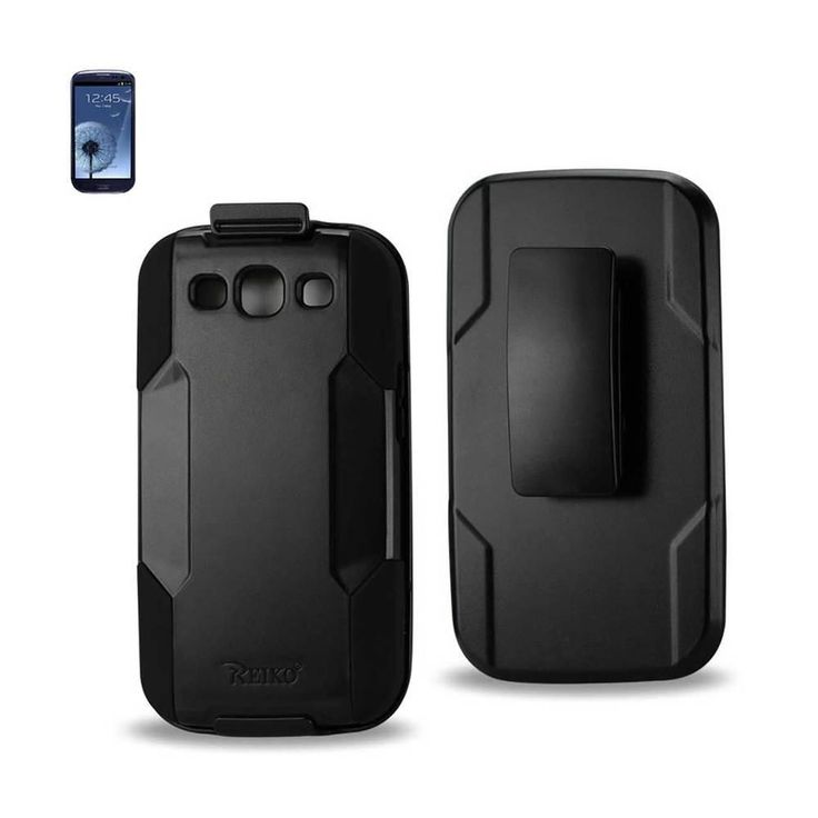 Reiko Silicone Case+Protectorcover Samsung Galaxy S 3/ I9300/R530X Black Holster With Clip