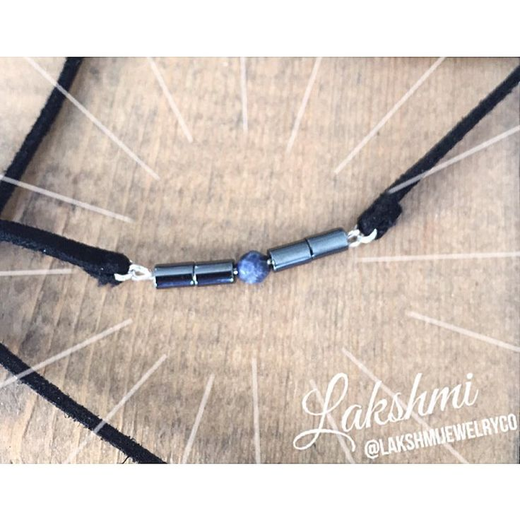 Trying my hands at some chokers! Chokers are full on making a come back, and I couldn't be happier about it! ✌️ | Hematite and Sodalite  See this Instagram photo by @lakshmijewelryco • 32 likes