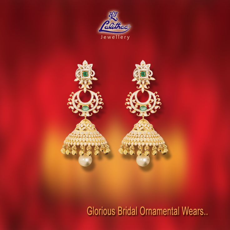 Trendy cum traditional half moon Chumkkies holding pearl drop that suits both wears either Saree or Salwar! Get into www.lalithaajewellery.com for more collections.