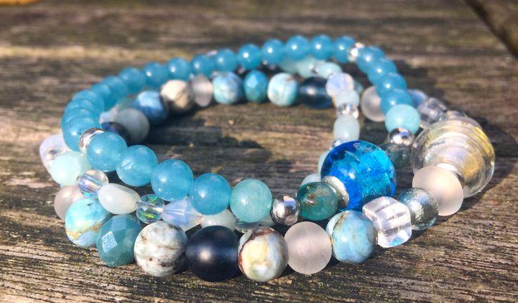 Aqua blauwe armbanden (3) door EarthbeadsByYasmy