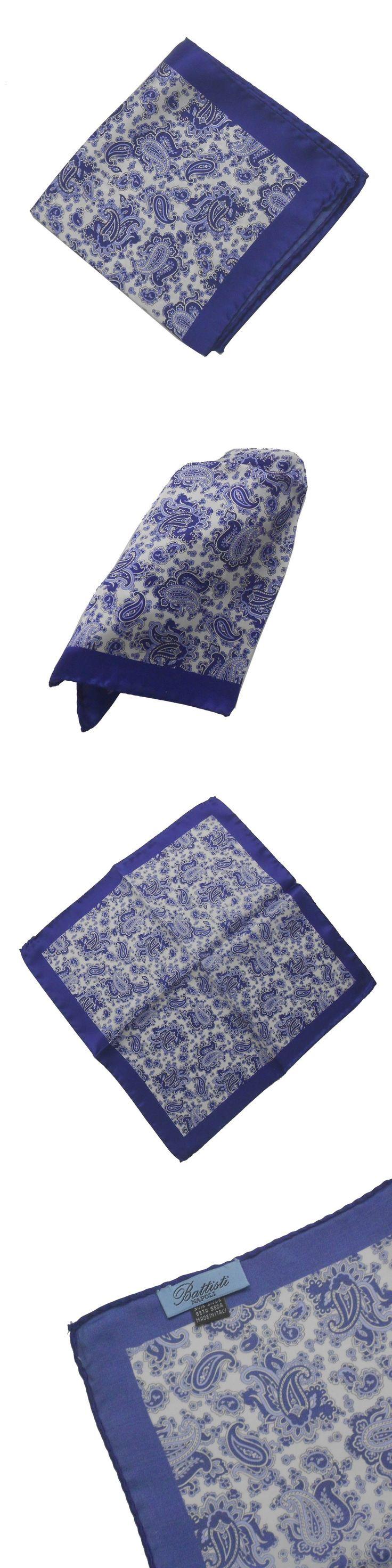 Handkerchiefs 167902: New Battisti Napoli Silk Pocket Square Pochette White And Navy Paisley -> BUY IT NOW ONLY: $35 on eBay!