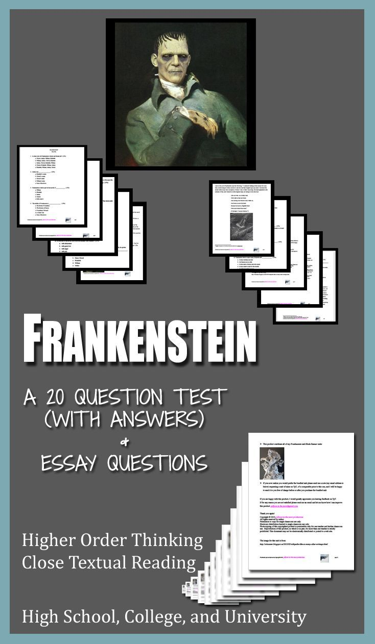 23 best teaching mary shelleys frankenstein images on pinterest frankenstein literature ela test essay questions entire novel fandeluxe Image collections