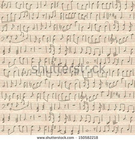 Seamless vintage grunge background with handwritten musical notes