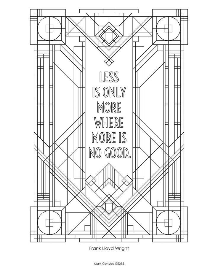 29 best frank lloyd wright images on pinterest for Frank lloyd wright coloring pages