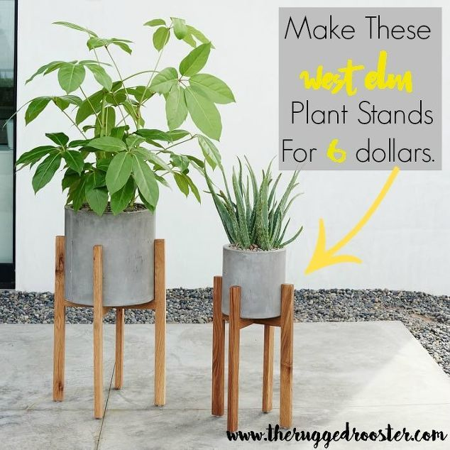 DIY West Elm Inspired plant stands for only $6.00! Easily adjust the size for almost any planter.