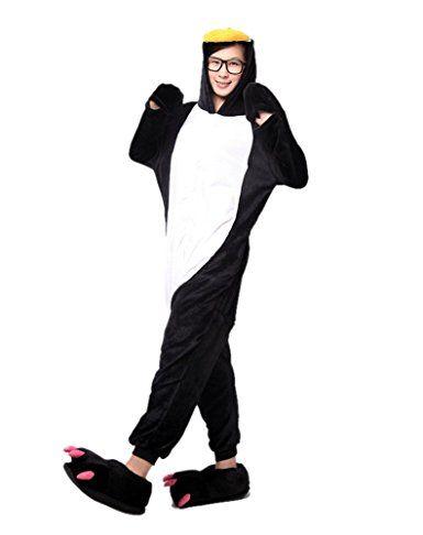 LATH.Pin Pinguino Tuta Cartoon Halloween costume cosplay in pile pigiama unisex pigiama taglia L