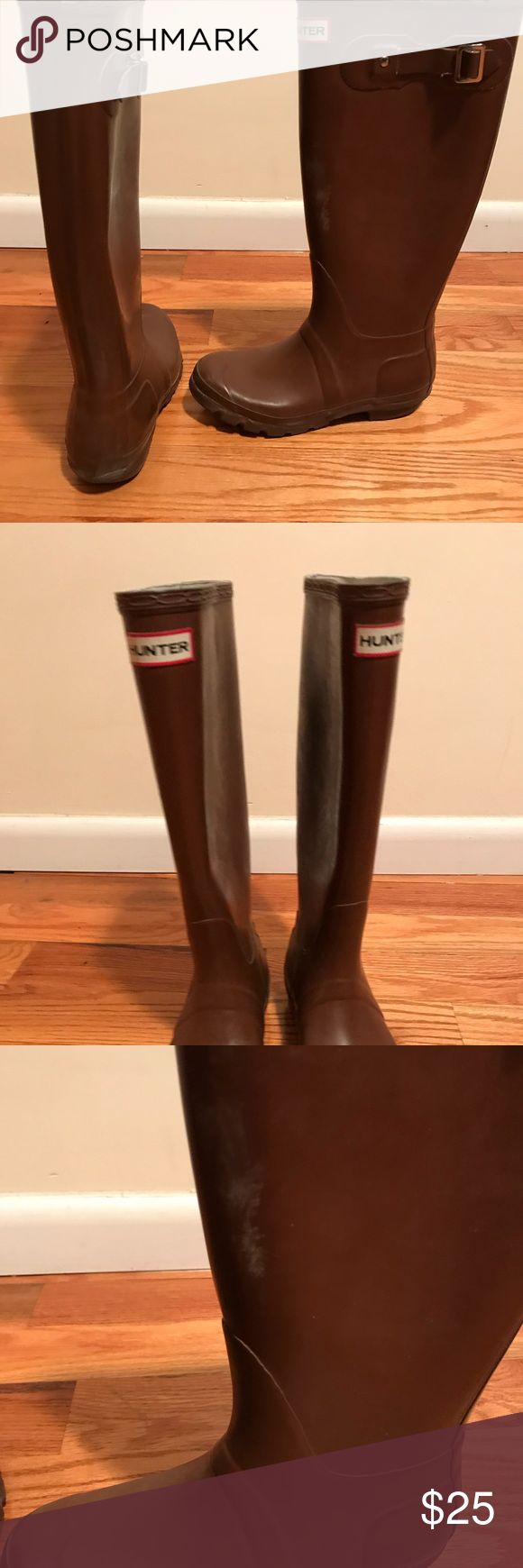 Burgundy tall hunter rain boots Tall hunter rain boots in Burgundy.  Show some signs of wear on heels and around ankles (see photos) Hunter Shoes Winter & Rain Boots