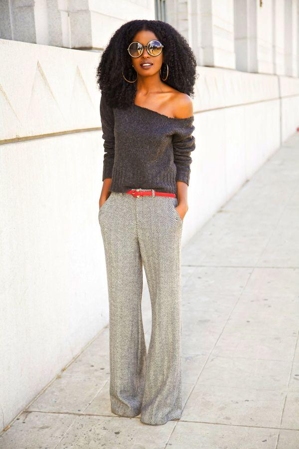 DIY Off Shoulder Sweater + Herringbone Wide Leg Trousers