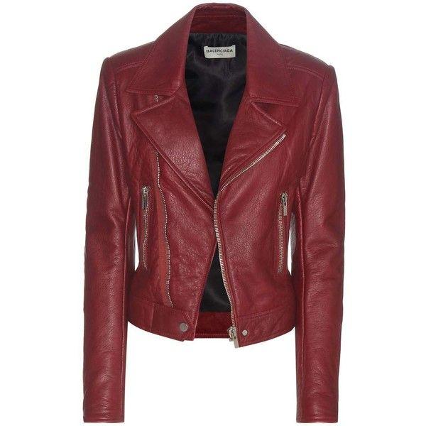 Balenciaga Leather Biker Jacket (£2,370) ❤ liked on Polyvore featuring outerwear, jackets, red, balenciaga jacket, real leather jackets, motorcycle jackets, moto jacket and rider jacket