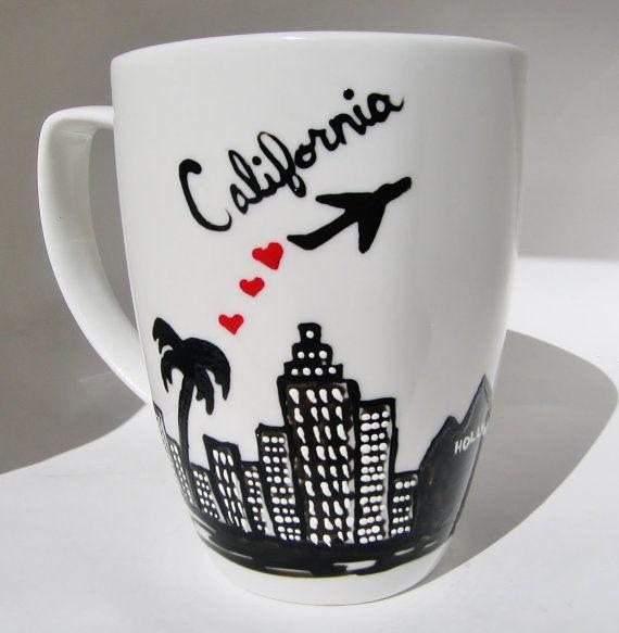 Taza de larga distancia,  horizonte, mover fuera de la ciudad regalo Califonia, paracaidista