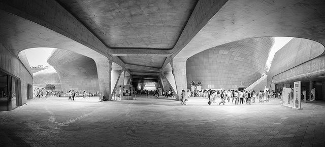 Below the belly of the beast! Dongdaemun Design Plaza - B Dongdaemun Design Plaza - B #dongdaemun #southkorea #Seoul #ddp #design #architecture #exterior #blackandwhite
