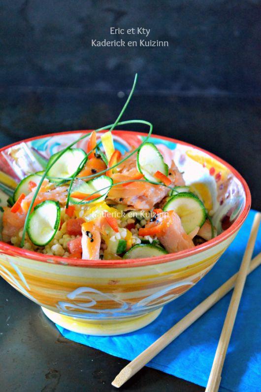 Dégustation taboule - Salade céréales legumes saumon plancha chez Kaderick en Kuizinn