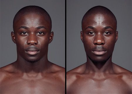 Series of photos by Julian Wolkenstein examines the belief that people who have more symmetrical faces are considered to be more attractive.    This man happens to have a VERY symmetrical face. Besides one side being slightly narrower, his features are nearly identical.    The portraits were split into a left and a right section, then one side was horizontally flipped to create two symmetrical identities of the subject.