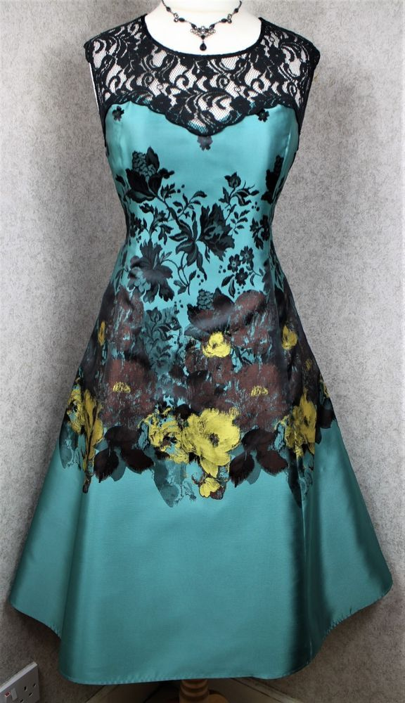 Phase Eight Size 16 Blenheim Green Black Lace Satin 50s