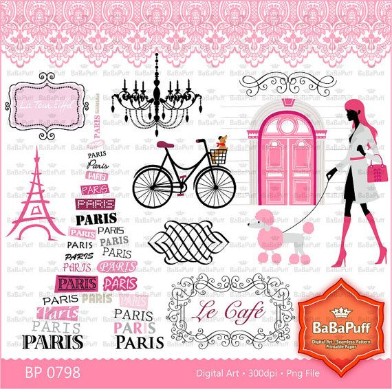 Paris Clip Art Set 2 Eiffel Tower France Landmarks by BaBaPuff, $7.50
