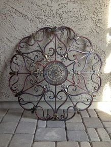 """Lge 29"""" Round Tuscan Convex Designed Wall Grill w/Fleur De Lis Accents"""