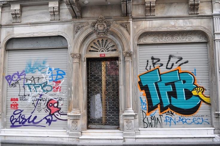 İstiklal street beyoglu istanbul  marble and grafiti.