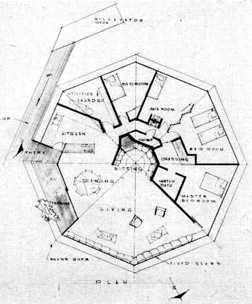 Floor plan of the chemosphere house in los angeles taken for Famous building blueprints