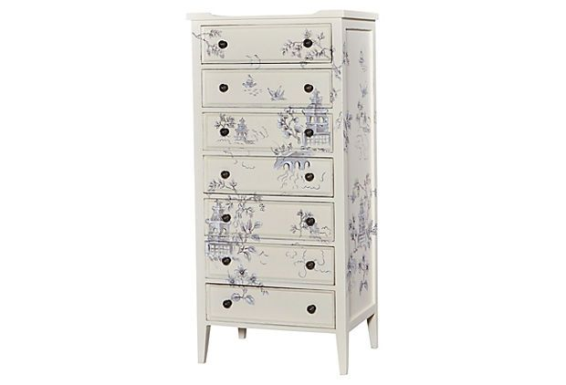 "Tall Pimlico Dresser, Ivory on OneKingsLane.com $1320 to $629  Drawing its inspiration from 1950s Britain, this tall gray mahogany dresser offers a delightfully feminine appeal with exquisite artwork.  26""w x 15""d x 55""h"