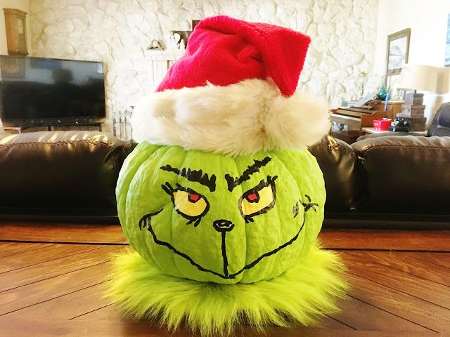 Use your leftover pumpkin to make a Grinch head for Christmas.  #Grinch