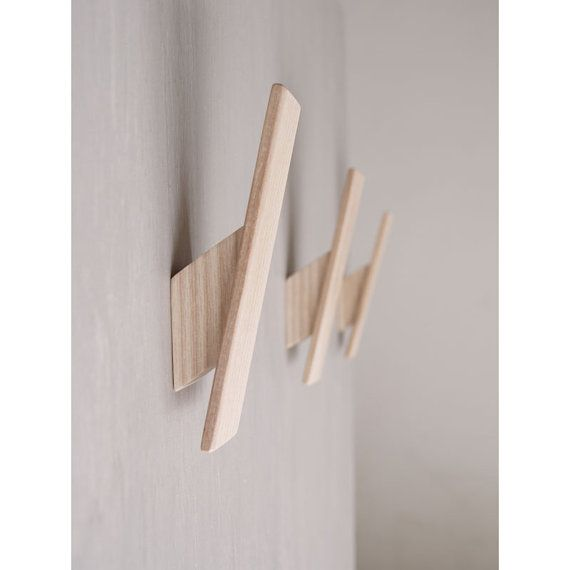 Wooden Wall Hooks - Set of 3. Ash. Modern. Contemporary. Simple. Light Wood. Coat Hook. Towel Hook. Clothes Storage