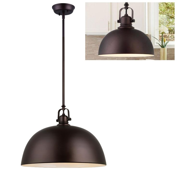 Canarm IPL222B01ORB16 Polo Kitchen And Bar Large Pendant Light Fixture With Metal Shade Oil Rubbed