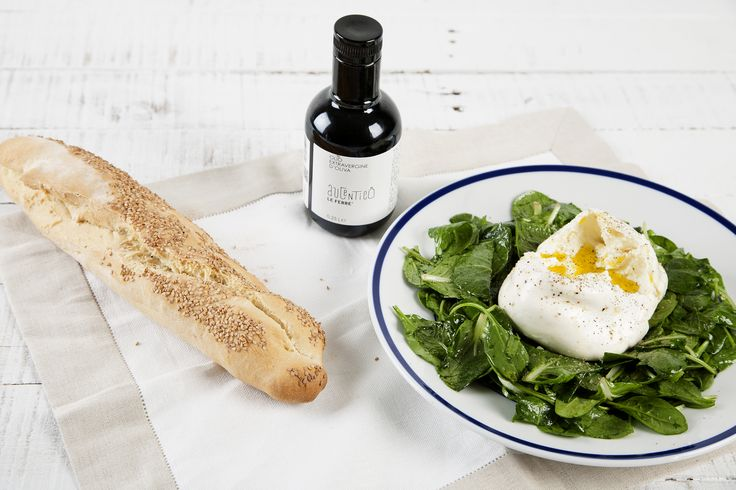Burrata Spinach Salad with Citrus Balsamic! Combine the creaminess of this burrata with the brightness of the citrus balsamic on the greens for a wonderful tribute to Puglia!