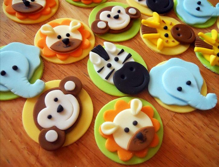 JUNGLE or SAFARI Edible Cupcake Toppers - CHOOSE any 4. $20.00, via Etsy.