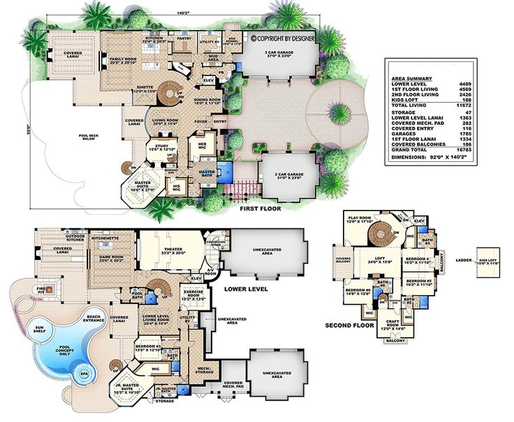 Luxury Tuscan House Plan This luxury house plan with finished  basement features 6 bedrooms 15 best Mediterranean Plans images on Pinterest