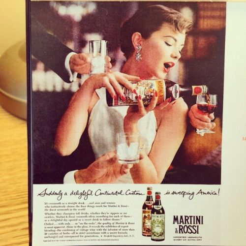 Martini & Rossi, 1958. More mysterious male hands…Lovjng the Audrey Hepburn look, also her pose and how well she still manages to show the bottle branding. Is she drunk or just very thorough serving drinks? #midcenturyads #ad #martini #drink #vermouth #madmen #madwomen #Taschen #continental #audreyhepburn