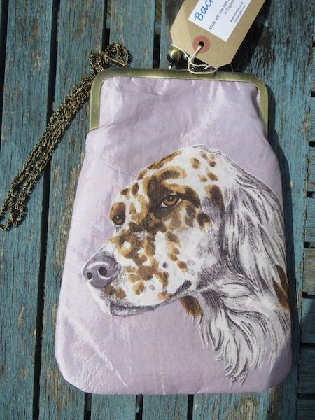 'Dottie'.  This georgeous bag has a beautiful picture of an English Setter on both front and back.  Made from a 1950's scarf, the dog, depicted in shades of brown and grey, is set off against a silver grey background.