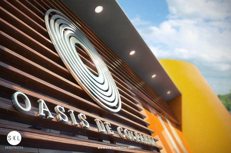 Diseño de sala de ventas en Piura para proyecto inmobiliario. Detalle de fachada: Listones de madera y logotipo en acero.